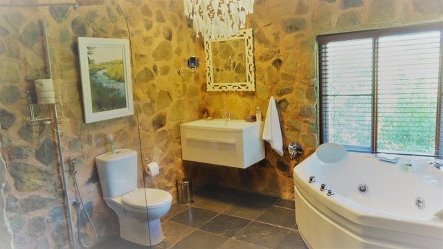 master ensuite with spa bath and wet shower